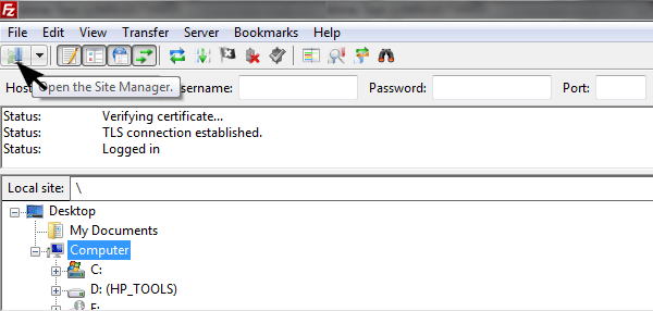 Open FileZilla