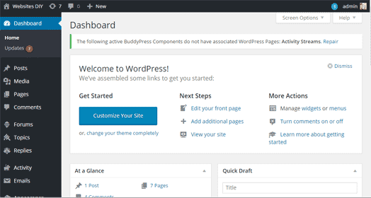 log into your wordpress website